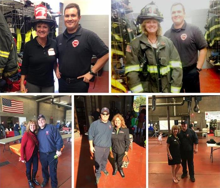 Several photos of SERVPRO employees standing with firefighters