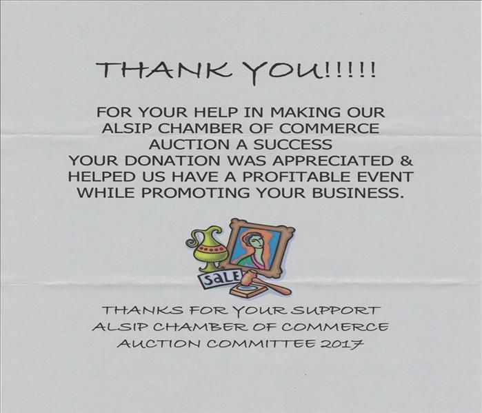 A thank you letter from a chamber of commerce on white paper