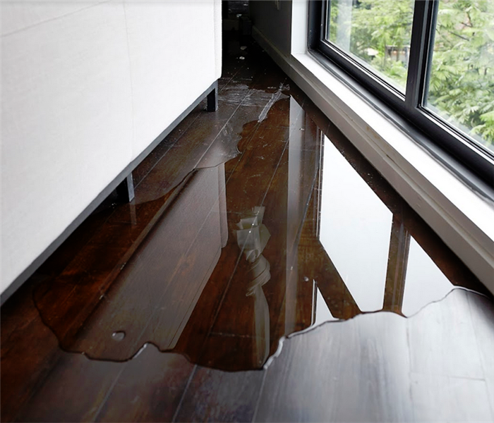 corner of a room with water on the floor